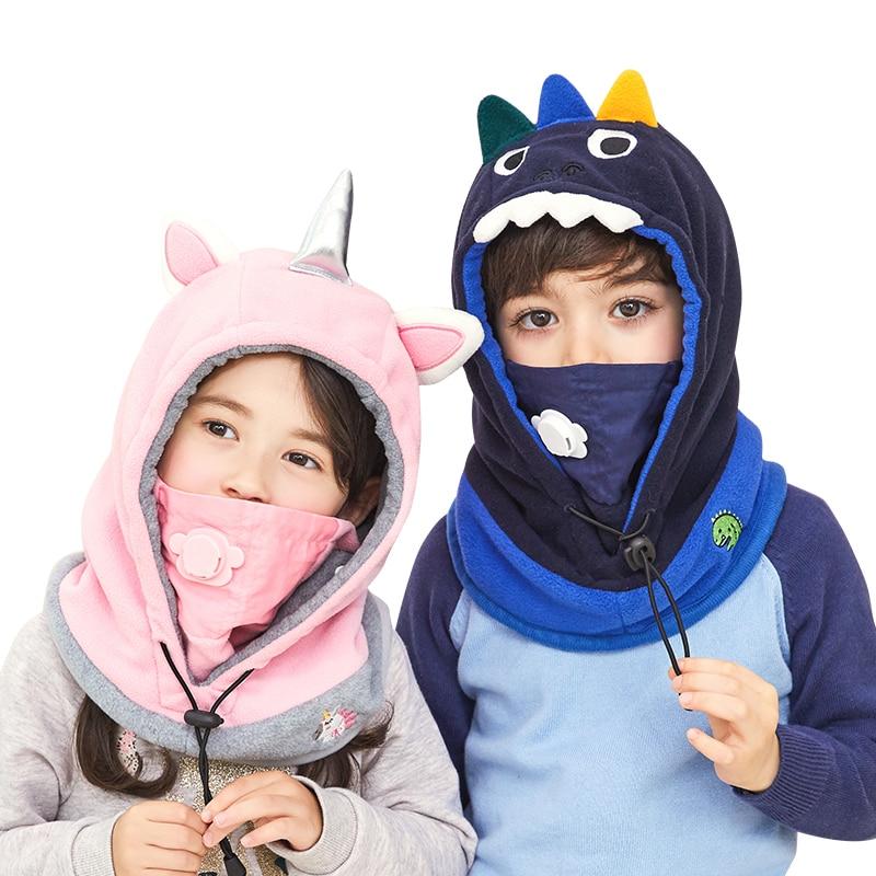 Inverno Crianças Dinossauro Unicórnios Mascarado Cap Estilo Do Chapéu Crianças Cap Bebê Coral de Veludo Com Capuz Para Meninos Meninas Beanie Chapéus Com máscara