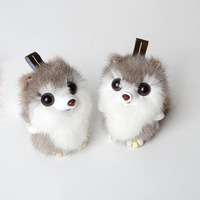 Bag hanging ornaments key chain creative plush car keychain cute female small squirrel fur grass mobile phone accessories YSK 02