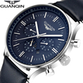 2016 Men Watches Luxury Brand GUANQIN New Fashion Leather Band Clock Army Quartz Wristwatches For Male relogio masculino relojes