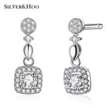SILVERHOO 925 Sterling Silver Stud Earrings Square Fine Jewelry Accessories  Wedding for Women Lady Cocktail Party Simple