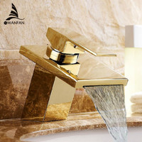 Luxury Bathroom Waterfall Square Basin Faucet Deck Mounted Crane Solid Brass Gold plating Hot and Cold Mixer Sink Tap LT 501 1