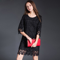 2017 Spring Summer New Black Lace Solid Colors L XL XXL XXXl 4XL 5XL Elegant Women