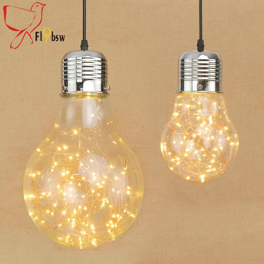 Nordique Creative grande ampoule forme verre pendentif lumières modernes slips dia 15/20 cm verre suspendus lampes pour éclairage industriel à la maison