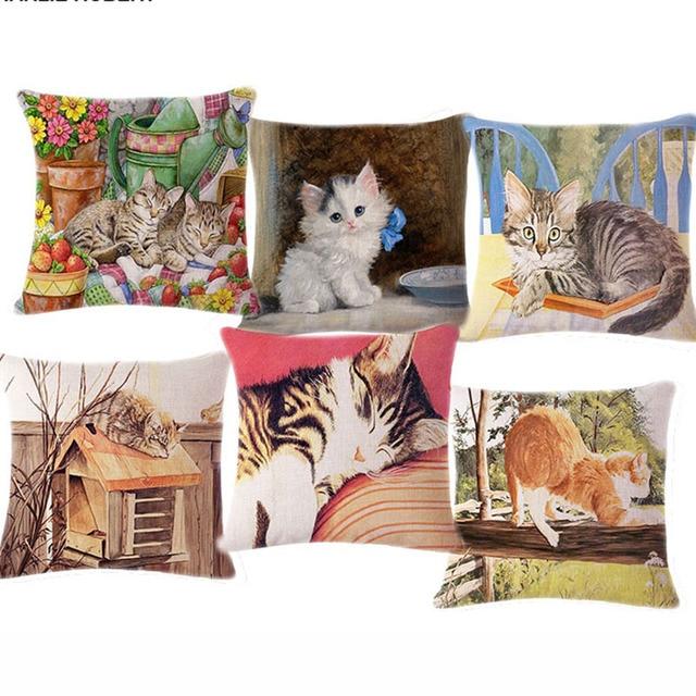 Lovely Cute Cat Animal Cushioncover Decorative Pillows For Chairs Home  Decor Cushion Almofadas Funda Cojin Emoji