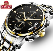 Fashion OLMECA Clock Military Men 's Watch Stainless Steel Montre Homme Waterproof Watches Chronograph Wrist Watch Drop-Shipping prong setting women s watch men s watch fine couple s hours stainless steel bracelet clock full crystal gift royal crown box