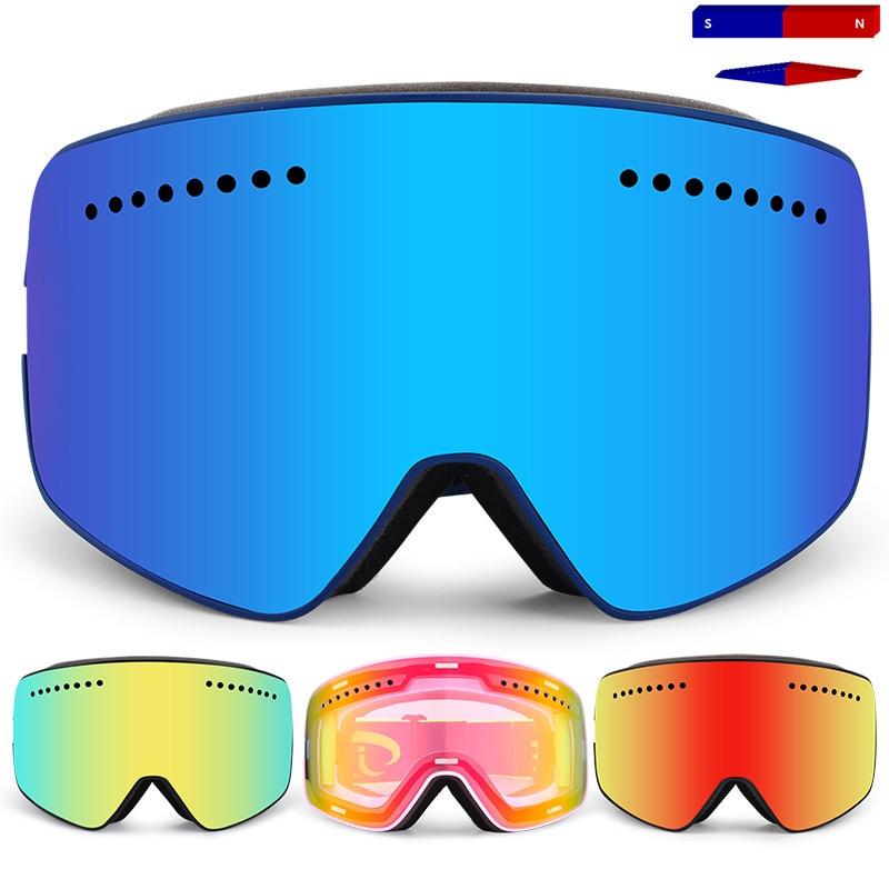 Magnet Ski Goggles,2019 Brand Professional Double UV400 Anti-fog Lens Big Men Women Ski Glasses Mask Skiing Snowboard Goggles