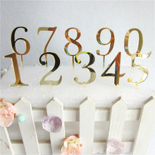 1pcs New Gold Number 0 1 2 3 4 5 6 7 8 9 Birthday Cake Topper Acrylic Golden Children Annivesary Party Decoration