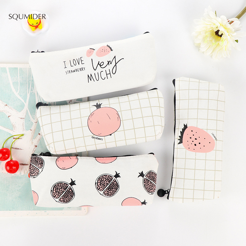 SQUMIDER Simple Sweet Strawberry/Pomegranate Canvas Pencil Case Large Capacity Korea Kawaii Pen Bag