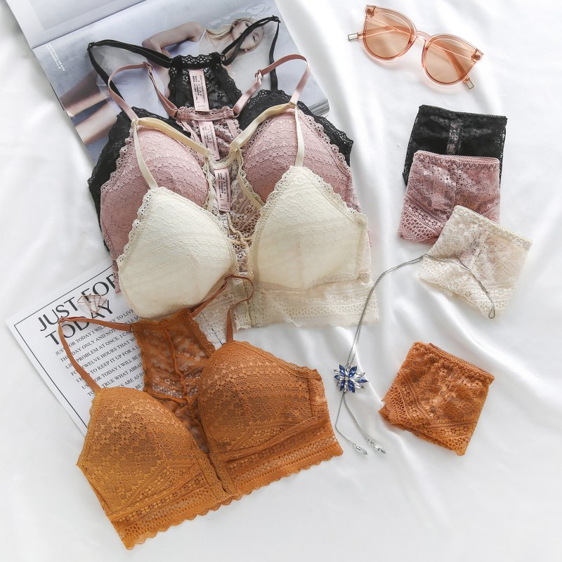Seamless Lace Hollow Panties Lingerie Set Women Lace Mesh Bra Set Beauty Back Push Up Padded Bras