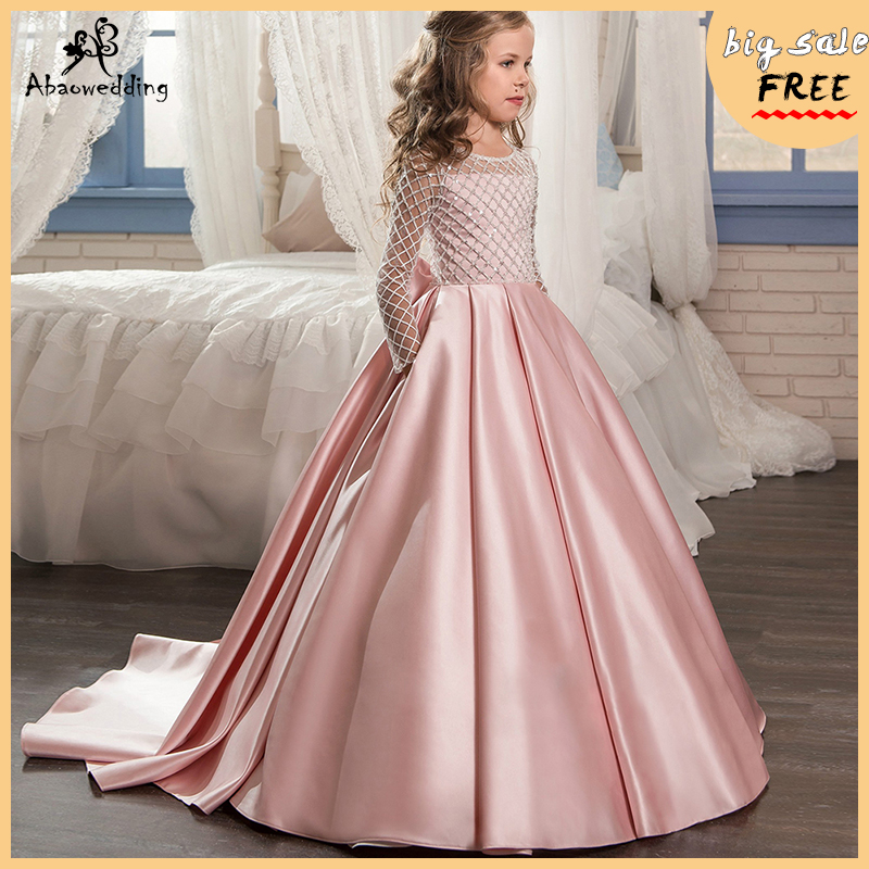 Aibaowedding Fancy Flower Girl Dresses Draped Long Sleeves First Communion Dress Pink Tulle Ball Gowns for