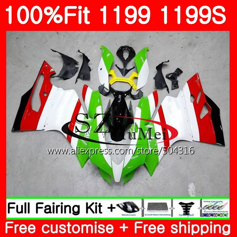 Injection For DUCATI 1199R 1199 S 1199 R Panigale 11 96MC.7 Green white 1199S 12 13 14 15 1199 2012 2013 2014 2015 Fairings kit