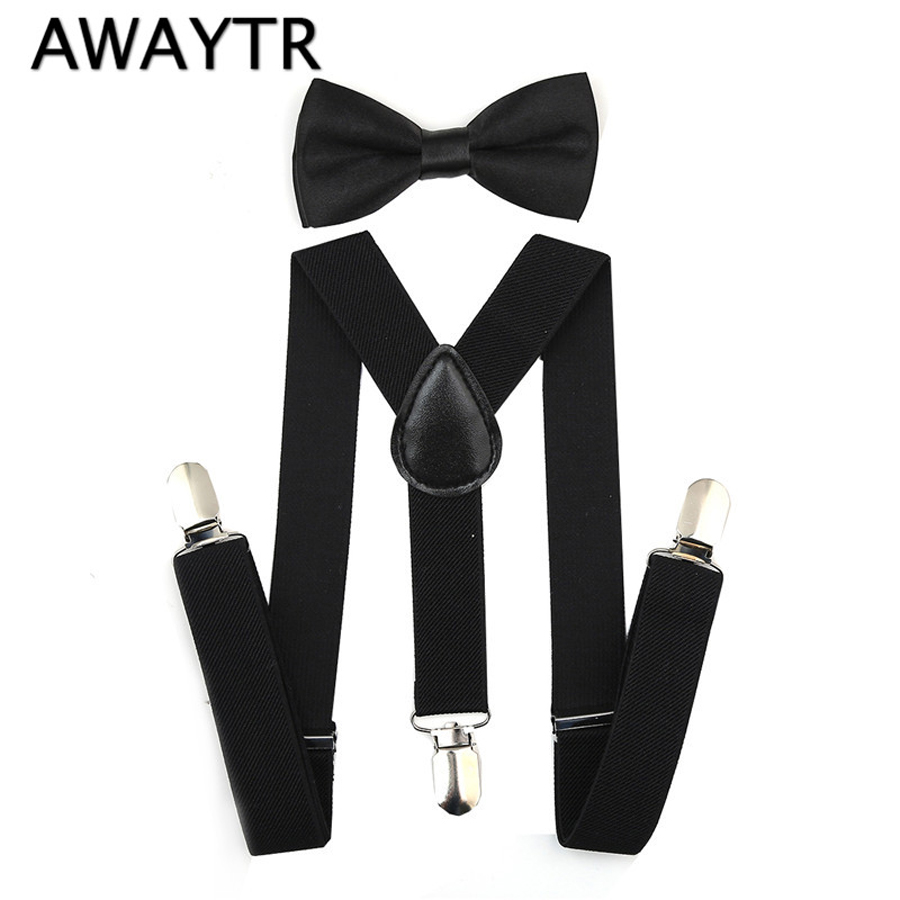 AWAYTR Adjustable Black Suspender And Bow Tie Set Boys And Girs Wedding Party Braces Elastic  Y-back Suspendersfor Baby Kids