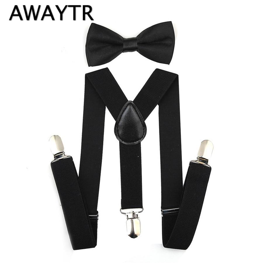 AWAYTR Adjustable Black Suspender and Bow Tie Set boys and Girs Wedding Party Braces Elastic Y-back Suspendersfor Baby Kids