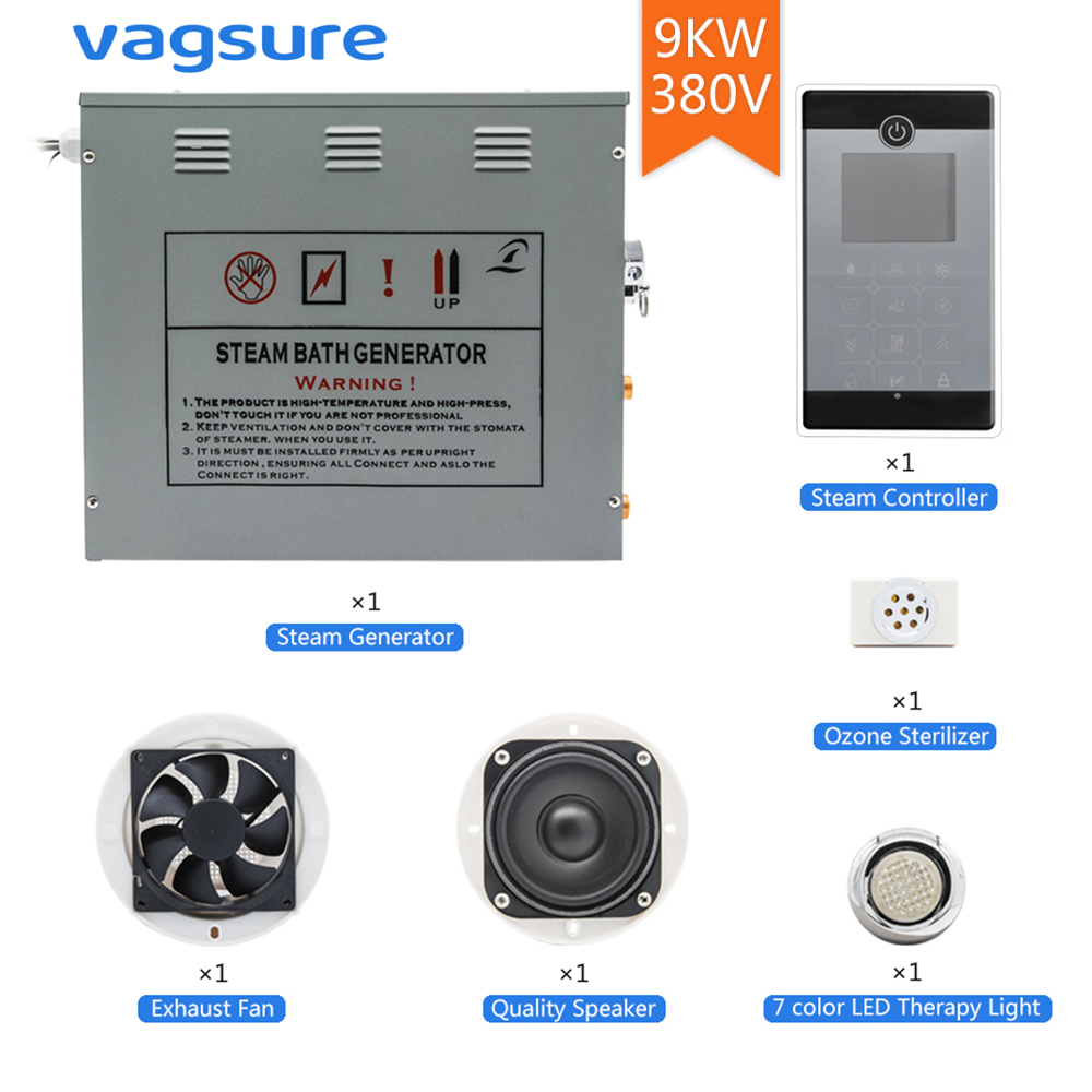 380V 3Phases 9KW Max Temperature 60 Degree Steam Time 60 Minutes Setting Shower Steam Bathroom