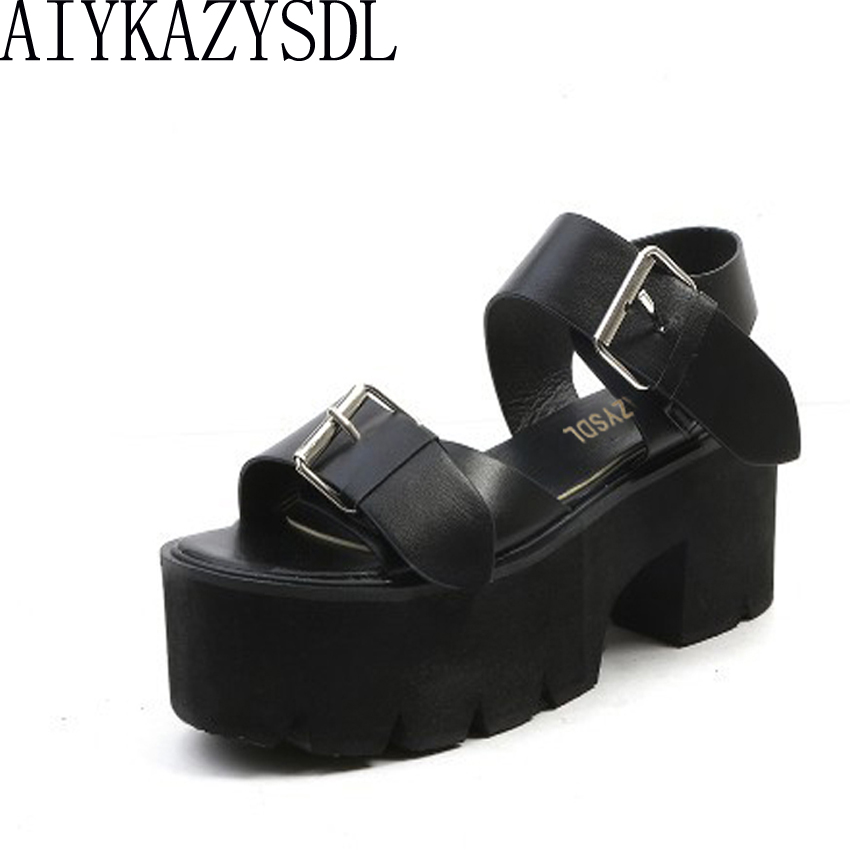 AIYKAZYSDL Summer Casual Shoes Women Open Toe Sandals Buckle Strap Thick Square Heels Platform Shoes Preppy Stule Student Shoes aiykazysdl summer women sandals thick