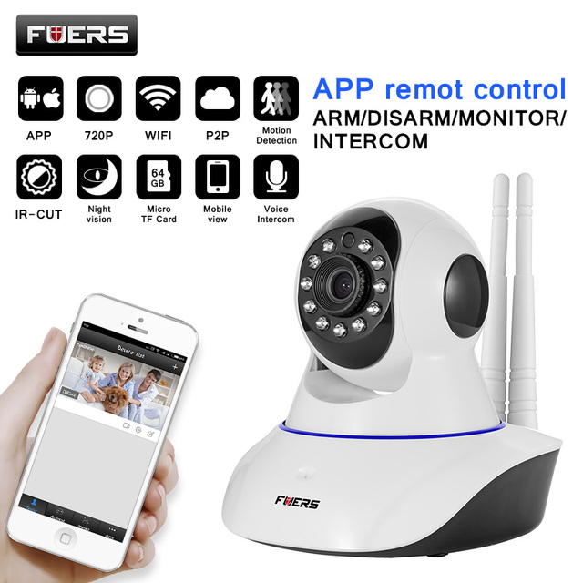 Fuers  WiFi Camera IR Cut IP Camera Pan/Tilt Wireless Surveillance CCTV Camera 720P HD 1MP CMOS Home Security Baby Monitor
