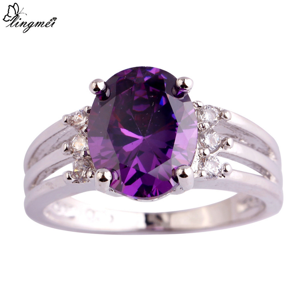 lingmei Wholesale Elegant Purple & White CZ Silver Color Ring Size 6 7 8 9 10 Women Facile Design European Fashion Jewelry