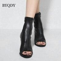 BYQDY Autumn Shoes Women Open Toes Boots Women Back Zipper High Heels Classic Match Fashion Rome Plus Size Comfortable Size 40