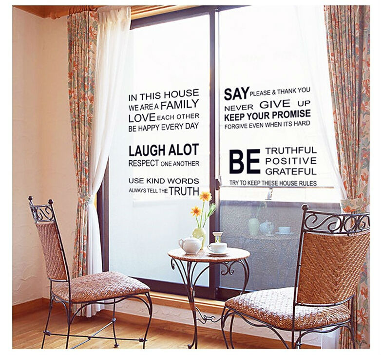 Home Decor Wall Stickers English Poetry Large Art Decals Diy Bathroom Windows Mirror Posters