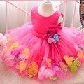 Pétala Hem Meninas Vestidos de Festa de Casamento Vestido de tutu Vestido de Princesa menina Infantil vestido de Flores crianças Frock Projetos Para 2 4 6 8 10 Anos
