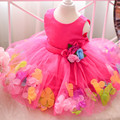 Petal Hem Girls Gowns Wedding Party Dress tutu Dress Infant girl Princess Dress Flowers kids Frock Designs For 2 4 6 8 10 Years