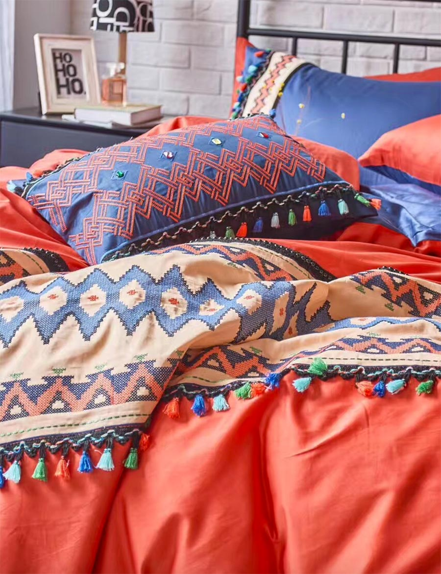 online get cheap colorful bedding for teens aliexpresscom  - colorful bohemian bedding set cotton teen adultfull queen king fashionboho double home textile bedsheet pillowcase duvet cover