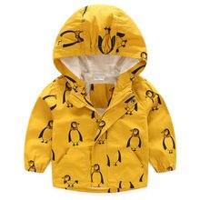 Penguins Kid Boy Children Hooded Rain Coat Windbreaker Jacket Outerwear Clothes Yellow
