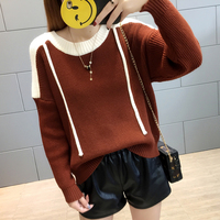 Make Core Spun Yarn Sweater Female Qiu Dong Han Edition Loose Color Matching Long Sleeve Turtleneck