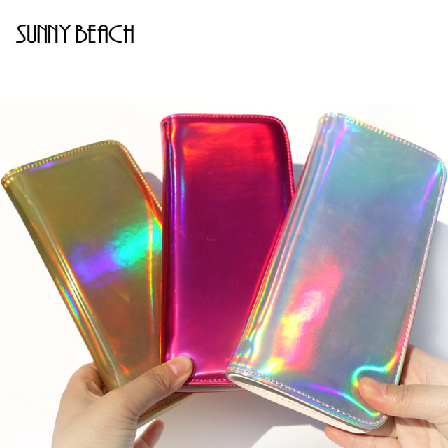 11af9b72fe8 SUNNY BEACH Fashion Women Leather Wallet Hologram Color Clutch Wallets  Purses Leather Long Brand Money Purse Credit Card Wallet