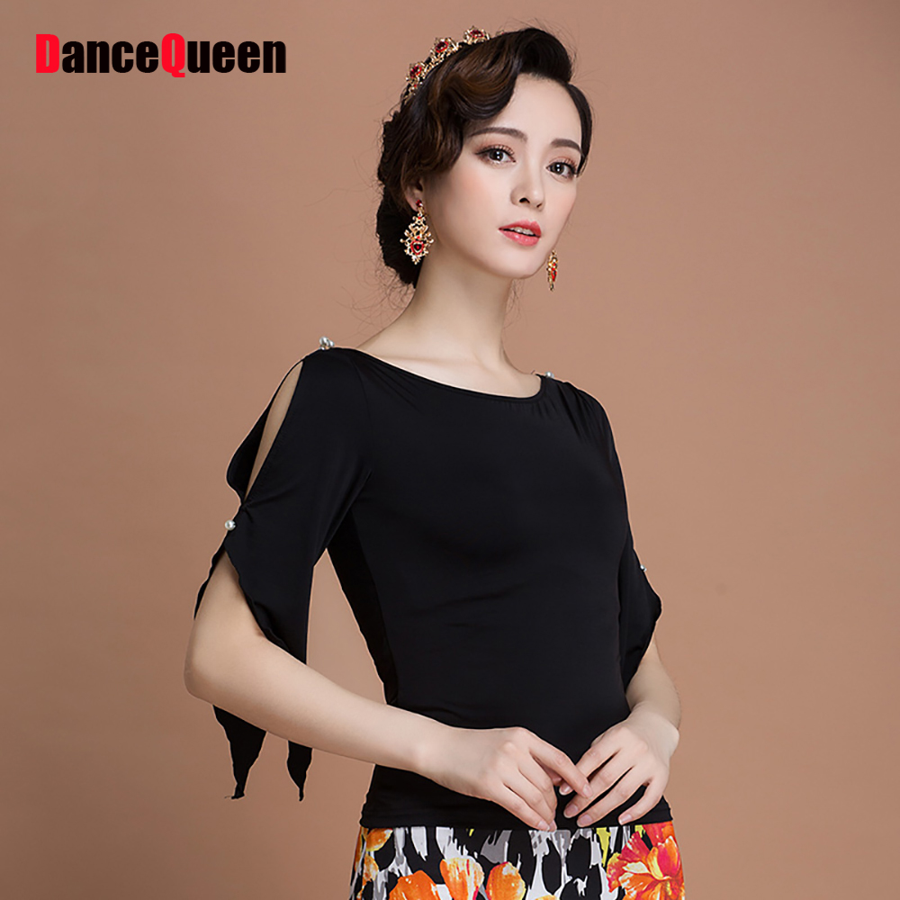 Present Latin Dance Shirts For Ladies Black Color Silk Tango Western Show Shirts Woman Modern Match Bollywood Dancing Tops Y106