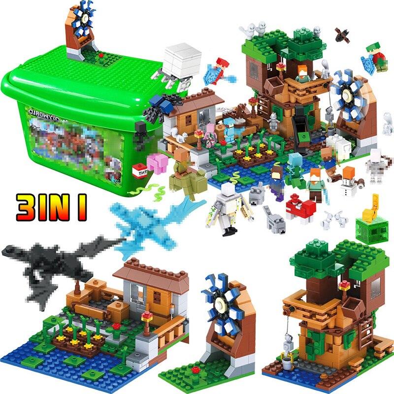 Mon Monde De Luxe cabane Pet Village Ferme blocs de construction Brique Compatible avec Légèreté Minecraft Moulin À vent 2 Dragon jouets pour enfants