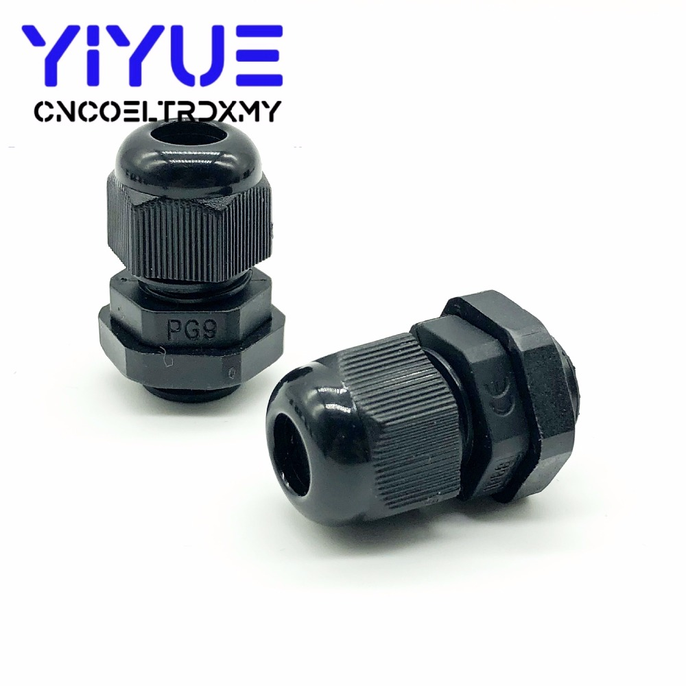 5pcslot IP68 PG7 for 3-6.5mm PG9 PG11 PG13.5 PG16 PG19 Wire Cable CE White Black Waterproof Nylon Plastic Cable Gland Connector (3)