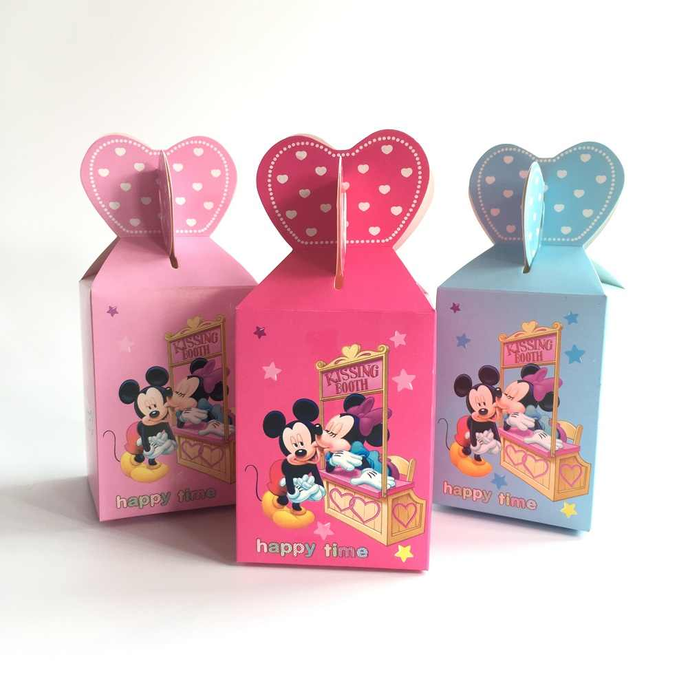 50pcs Baby Shower Gift Box Candy Kids Favor Boxes Minnie Mickey Mouse Birthday Party