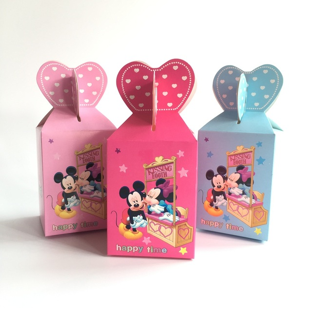 Mickey And Minnie Mouse Party Supplies Birthday Decorations Baby Shower Candy Box Paper Gift Wedding Favor 50pcs In Bags Wrapping