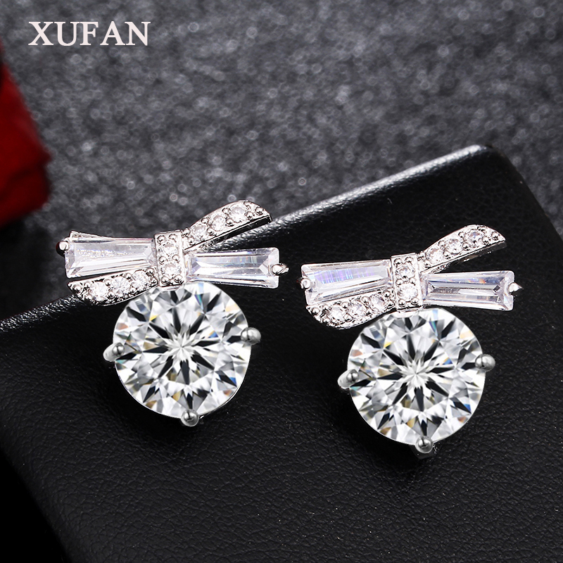 Lovely Bowknot CZ Stone Stud Earrings AAA Cubic Zirconia Bow Earrings for Women Girls Wedding Jewelry Gifts