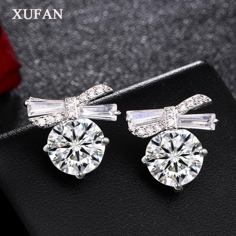 Lovely Bowknot CZ Stone Stud Earrings AAA Cubic Zirconia Bow Earrings for Women Girls Wedding Jewelry Gifts