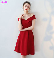 Custom Made Sexy Red Cocktail Dresses 2017 New Simple Style V Neck A Line Prom Gowns