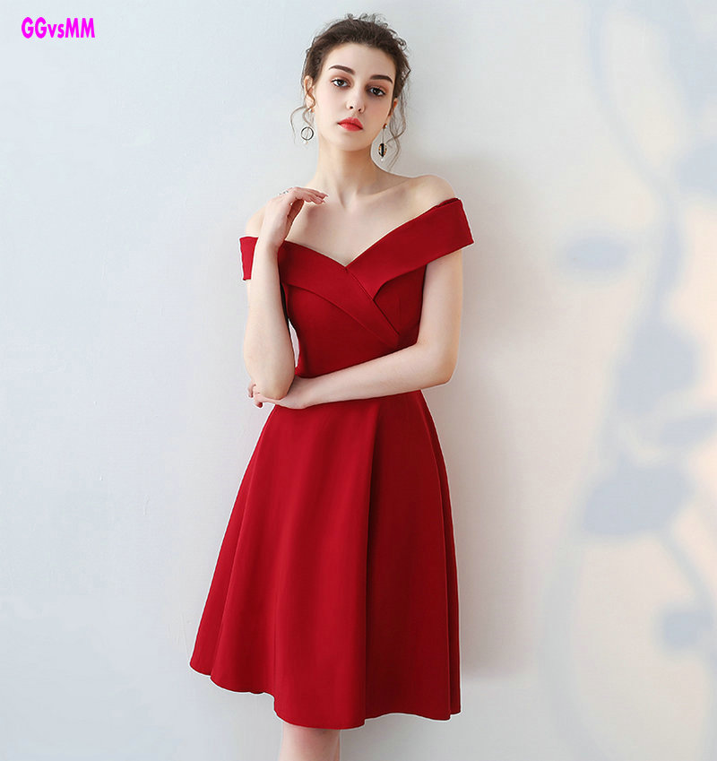 Custom Made Sexy Red   Cocktail     Dresses   2018 New Simple Style V-Neck A-Line Prom Gowns Built-In Bra Formal   Cocktail   Party   Dress