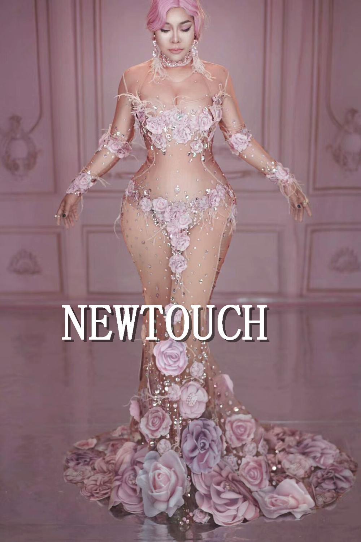 3D Rose impression strass fleurs Net voir si maille robe grand Stretch anniversaire célébrer robe chanteur Performance Costume 20