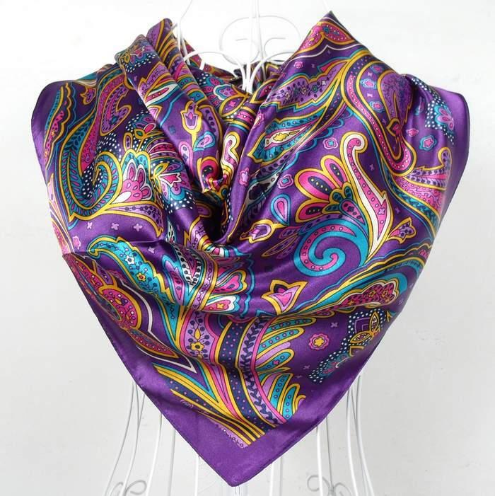 Дизайн женский Шелковый большой квадратный шелковый шарф из полиэстера, 90*90 см горячая Распродажа атласный шарф с принтом для весны, лета, осени, зимы - Цвет: 171 purple