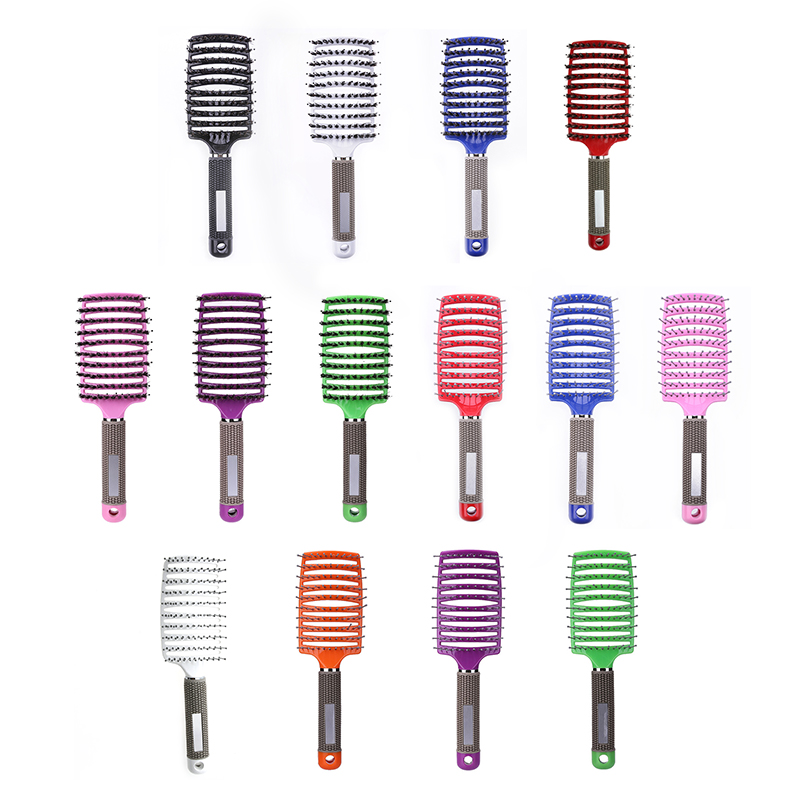 1pc Ribs Comb Hairbrush Women Wet Hair Brush Professional Styling Plastic Nylon Big Bent Comb Hairdressing Styling Tool #2