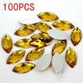 Venda quente 100 Pieces Terra Facetas Plano Voltar Marquise Cavalo Formato dos olhos de ouro Acrílico Rhinestone diamante da arte do Prego decoração de Unhas
