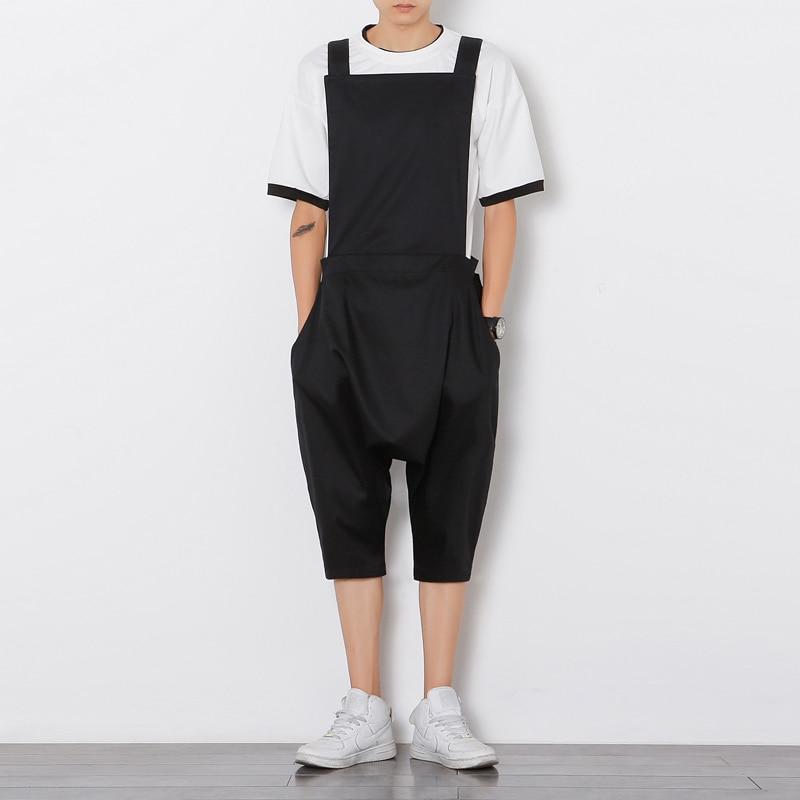 Mens Hiphop Laag Kruis Broek Zwarte Jumpsuit Jumpsuit Mode Mannelijke Bib Broek Overalls Casual Losse Harembroek Plus Size