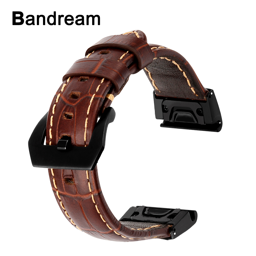 Quick Easy Fit Genuine Leather Watchband 26mm for Garmin Fenix 5X/5X Plus/3/3 HR/D2/Descent MK1 Alligator Grain Strap Watch Band eache 26mm genuine leather watchband for garmin fenix 3 crazy horse leather watch band strap for fenix 3 men watch accessories