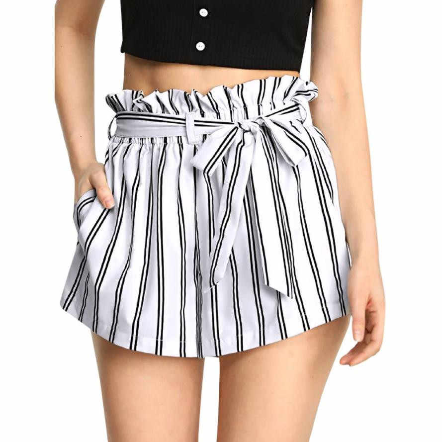 Women Retro Stripe Casual Style Short Fit Elastic Waist Pocket Shorts high quality Great for Beach With String Women Summer