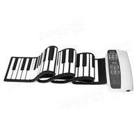 White Black S 88 Professional Silicone Flexible 88 Key Roll Up Piano 140 Tones With MIDI