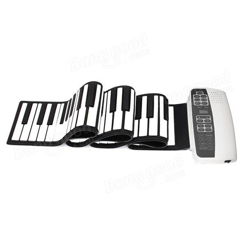 White Black S-88 Professional Silicone Flexible 88 Key Roll Up Piano 140 Tones with MIDI Keyboard For Musical Instruments Lovers portable mini roll up soft silicone flexible electronic digital music keyboard piano with loud speaker for different children
