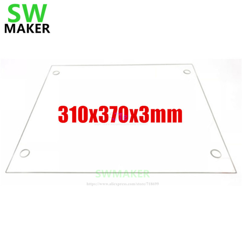 SWMAKER 310x370x3mm Borosilicate Glass Plate Flat w/ Screw Holes Polished Edge For DIY <font><b>Tevo</b></font> <font><b>Tornado</b></font> <font><b>3D</b></font> printer <font><b>parts</b></font> image