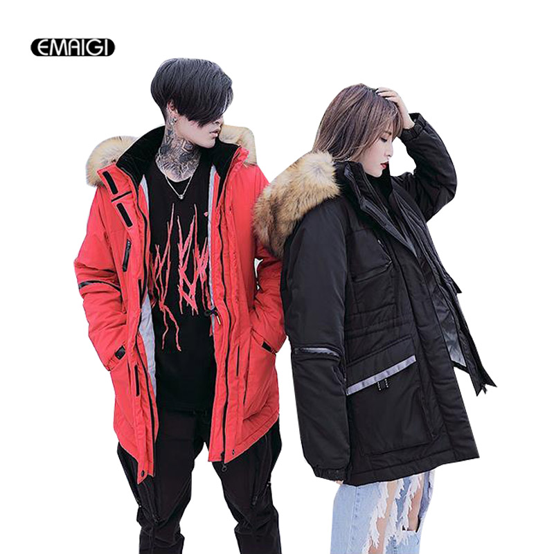 2017 Winter New Couples Jacket Men Fashion Casual Thicken Big Fur Collar Parkas Coat Women Male Cotton Padded Outerwear Jacket цена