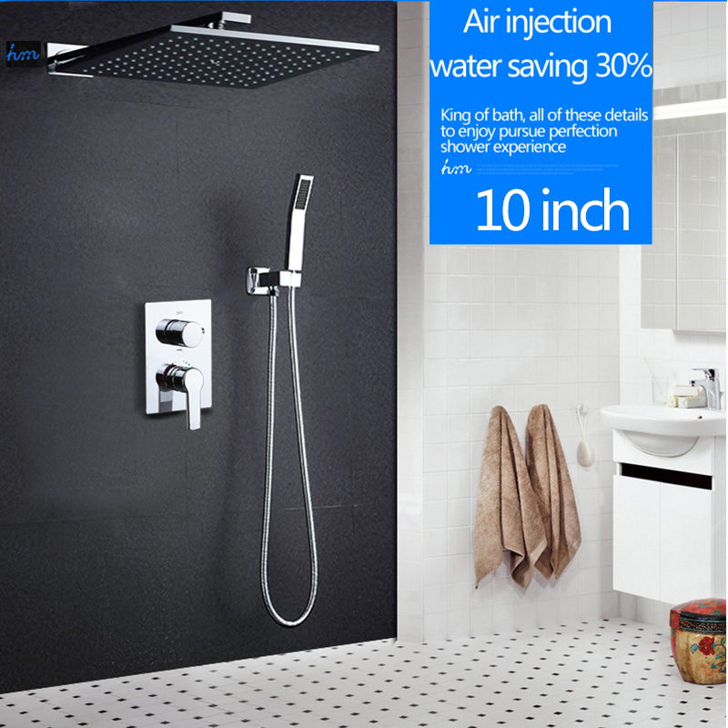 hm 10 Rainfall Shower Head System Polished Chrome Bath & Shower Faucet Bathroom Luxury Rain Mixer Shower Combo Set Wall Mounted chrome polished rainfall solid brass shower bath thermostatic shower faucet set mixer tap with double hand sprayer wall mounted
